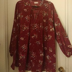 Wine floral tunic dress